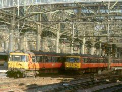 303070 and 303009 at Glasgow Central 1991