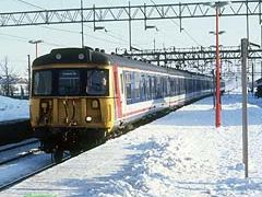 312787 arriving at Witham in the snow.