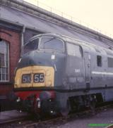 D818 Warship at Swindon works in 1985.  This loco was scrapped soon after